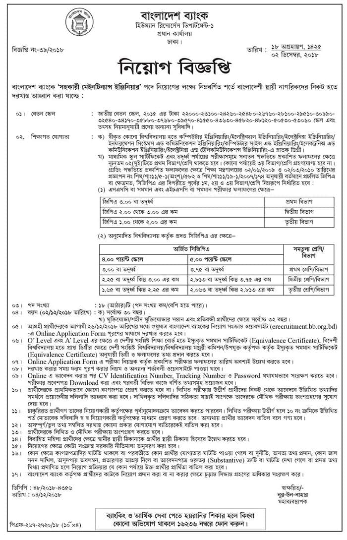 bangladesh bank job circular 2018-2019